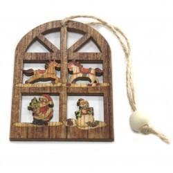 6 Packs 2 colgantes decoración madera navideña - ventana alegre