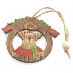 6 Packs 2 colgantes decoración madera navideña - Rudolf