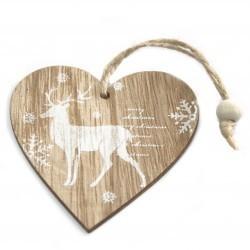 6 Packs 2 colgantes decoración madera navideña - corazón con reno