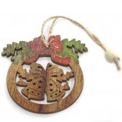 6 Packs 2 colgantes decoración madera navideña - arco y campana