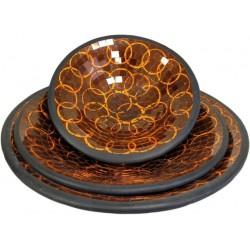 Set 3 bowls mosaico - círculo naranja
