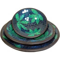 Set 3 bowls mosaico - hojas verdes