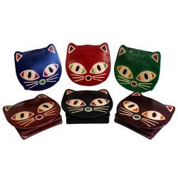 6 Monederos cuero - gatos surtidos