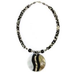 Collar perla y nácar - estampado cebra